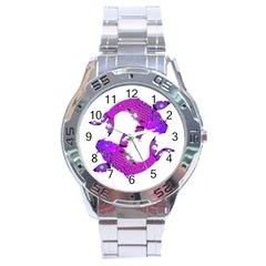 Koi Carp Fish Water Japanese Pond Stainless Steel Analogue Watch