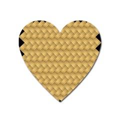 Wood Illustrator Yellow Brown Heart Magnet