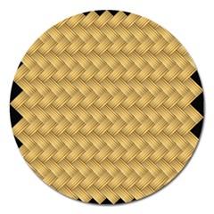 Wood Illustrator Yellow Brown Magnet 5  (round)