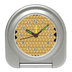 Wood Illustrator Yellow Brown Travel Alarm Clocks by Nexatart