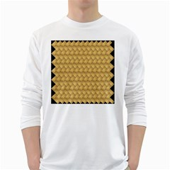 Wood Illustrator Yellow Brown White Long Sleeve T Shirts