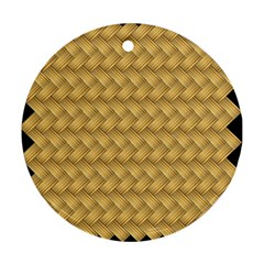 Wood Illustrator Yellow Brown Round Ornament (two Sides)