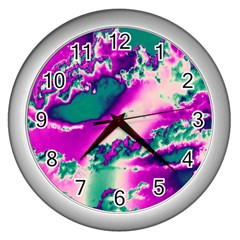 Sky Pattern Wall Clocks (silver)  by Valentinaart