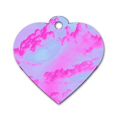 Sky Pattern Dog Tag Heart (one Side) by Valentinaart