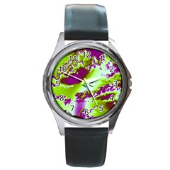 Sky Pattern Round Metal Watch by Valentinaart