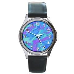 Sky Pattern Round Metal Watch by Valentinaart