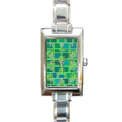 Green Abstract Geometric Rectangle Italian Charm Watch by Nexatart