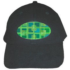 Green Abstract Geometric Black Cap by Nexatart