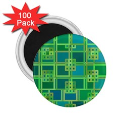 Green Abstract Geometric 2 25  Magnets (100 Pack)  by Nexatart