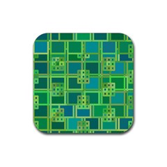 Green Abstract Geometric Rubber Square Coaster (4 Pack)  by Nexatart