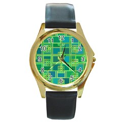 Green Abstract Geometric Round Gold Metal Watch by Nexatart