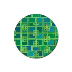 Green Abstract Geometric Rubber Round Coaster (4 Pack)  by Nexatart