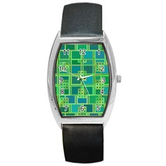 Green Abstract Geometric Barrel Style Metal Watch