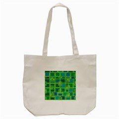 Green Abstract Geometric Tote Bag (cream) by Nexatart