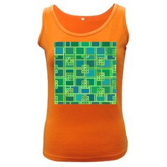 Green Abstract Geometric Women s Dark Tank Top