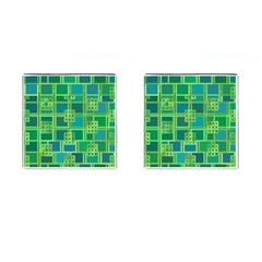 Green Abstract Geometric Cufflinks (square) by Nexatart