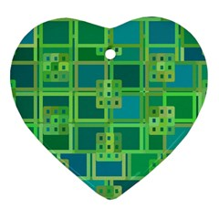 Green Abstract Geometric Heart Ornament (two Sides) by Nexatart