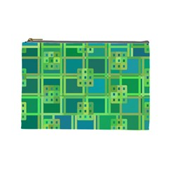 Green Abstract Geometric Cosmetic Bag (large)