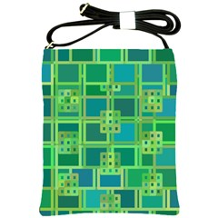 Green Abstract Geometric Shoulder Sling Bags by Nexatart