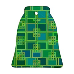 Green Abstract Geometric Bell Ornament (two Sides) by Nexatart