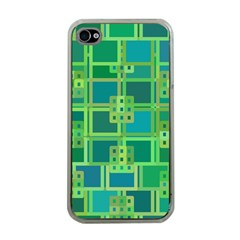 Green Abstract Geometric Apple Iphone 4 Case (clear)