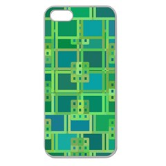 Green Abstract Geometric Apple Seamless Iphone 5 Case (clear) by Nexatart