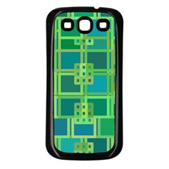 Green Abstract Geometric Samsung Galaxy S3 Back Case (black)