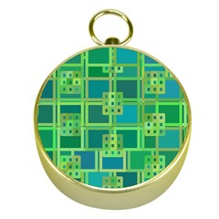 Green Abstract Geometric Gold Compasses by Nexatart