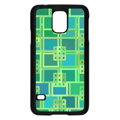 Green Abstract Geometric Samsung Galaxy S5 Case (black) by Nexatart