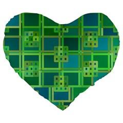 Green Abstract Geometric Large 19  Premium Flano Heart Shape Cushions by Nexatart