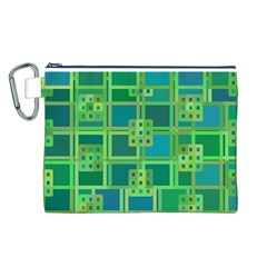 Green Abstract Geometric Canvas Cosmetic Bag (l) by Nexatart