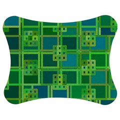 Green Abstract Geometric Jigsaw Puzzle Photo Stand (bow) by Nexatart