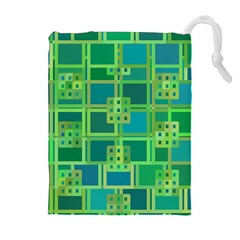 Green Abstract Geometric Drawstring Pouches (extra Large) by Nexatart