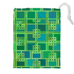 Green Abstract Geometric Drawstring Pouches (xxl) by Nexatart