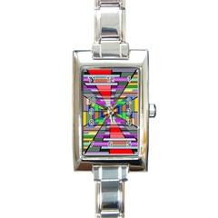 Art Vanishing Point Vortex 3d Rectangle Italian Charm Watch
