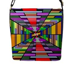 Art Vanishing Point Vortex 3d Flap Messenger Bag (l)