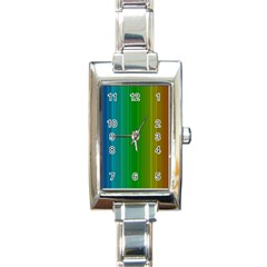Spectrum Colours Colors Rainbow Rectangle Italian Charm Watch