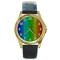 Spectrum Colours Colors Rainbow Round Gold Metal Watch