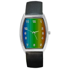 Spectrum Colours Colors Rainbow Barrel Style Metal Watch