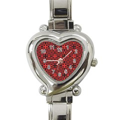 Abstract Background Red Black Heart Italian Charm Watch