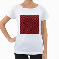 Abstract Background Red Black Women s Loose Fit T Shirt (white)