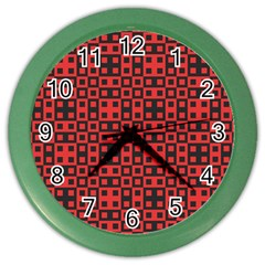 Abstract Background Red Black Color Wall Clocks by Nexatart