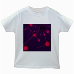 Abstract Lines Radiate Planets Web Kids White T Shirts