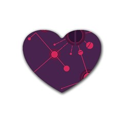 Abstract Lines Radiate Planets Web Rubber Coaster (heart)  by Nexatart