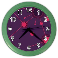 Abstract Lines Radiate Planets Web Color Wall Clocks by Nexatart