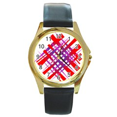 Chaos Bright Gradient Red Blue Round Gold Metal Watch