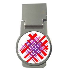 Chaos Bright Gradient Red Blue Money Clips (round)  by Nexatart