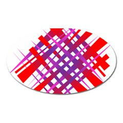 Chaos Bright Gradient Red Blue Oval Magnet by Nexatart
