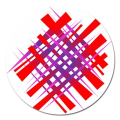 Chaos Bright Gradient Red Blue Magnet 5  (round) by Nexatart