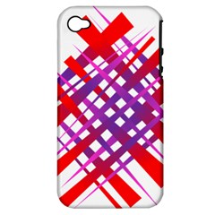 Chaos Bright Gradient Red Blue Apple Iphone 4/4s Hardshell Case (pc+silicone)